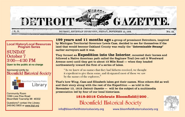 1818 Expedition Presentation – Bloomfield Historical Society
