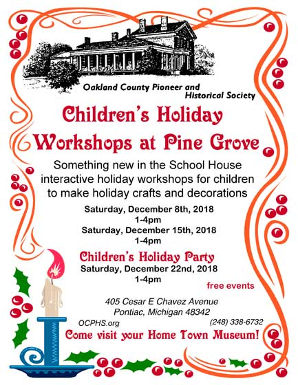 Free Children's Holiday Party in the Schoolhouse!
